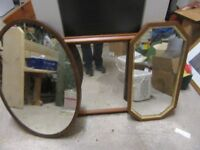 3 Mirror - Large pine mirror (£10), Vintage Oval Mirror (£10), Hexagon Mirror (£7)