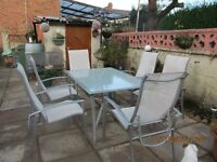 aluminium glasstop lable with 6 matching chairs