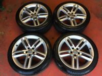 19'' GENUINE AUDI A7 S LINE 5 DOUBLE SPOKE ALLOY WHEELS TYRES ALLOYS A4 B8 A6 5X112