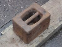 CAST IRON WEIGHT – 56 POUNDS (LBs) – A FEW USAGE MARKS – RUSTY – BUT IT IS OVER 65 YEARS OLD
