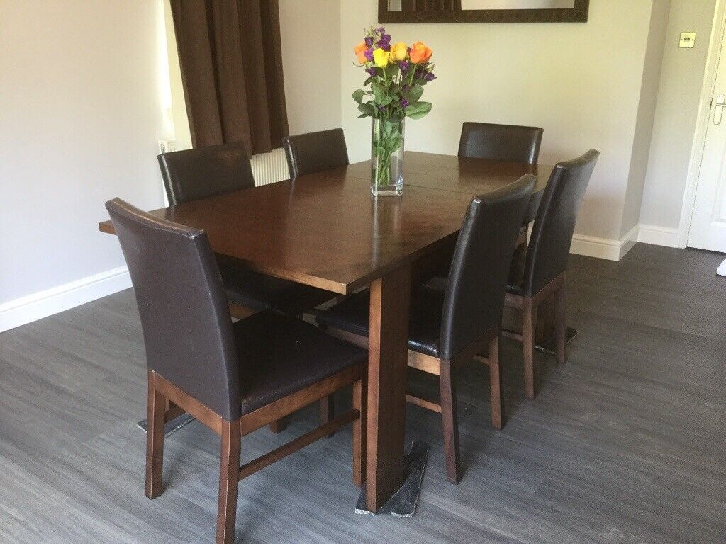 Astounding Dark Wood Extendable Dining Table And 6 Chairs In Witney Oxfordshire Gumtree Onthecornerstone Fun Painted Chair Ideas Images Onthecornerstoneorg
