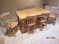Pine Dining Table and 6 chairs including two carvers