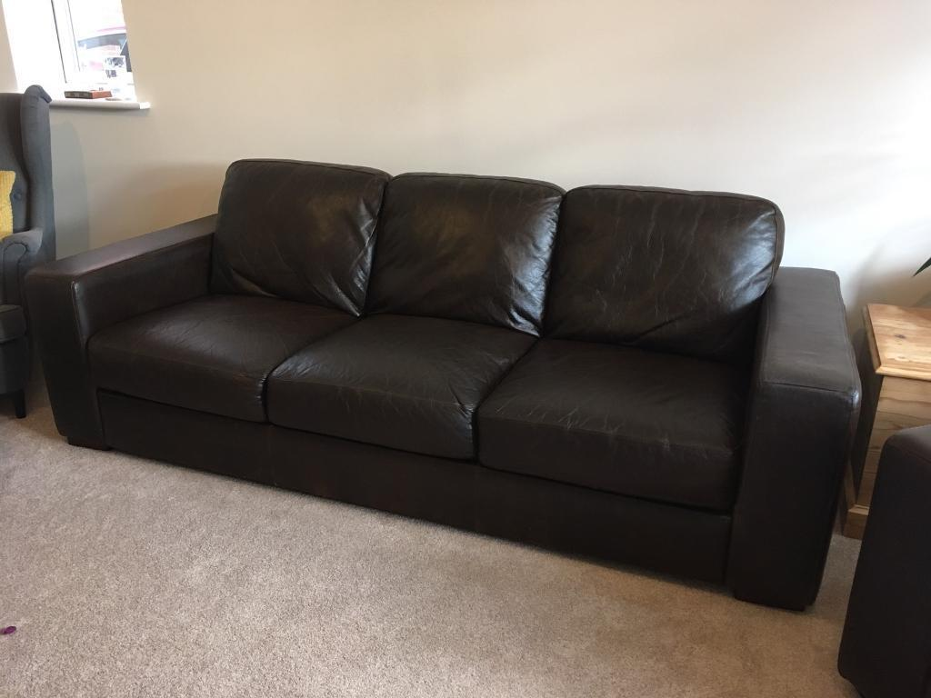Brown Leather Sofa And Armchair Bhs Madison Range