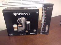 Brand new nespresso machine with x40 capsules and holder
