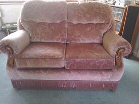 Pink fabric three piece suite