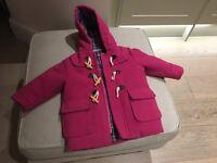 Jojo Maman Bebe pink winter coat- 12-18m