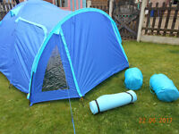 TESCO 2 PERSON TENT & 2 SLEEPING BAGS & 1 MAT EXCELLENT CONDITION
