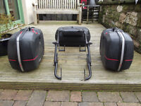 Givi monokey panniers, topbox and wing rack.