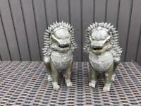 Pair of Very Heavy Thai Khmer Foo Dog or Singha Dragon Statues 30cm tall