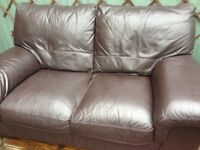 1 x 3 seater and 1 x 2 seater brown leather sofas, good condition