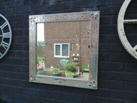 SILVER METAL ORNAMENTED WALL MIRROR WITH BEAUTIFUL DETAILS
