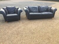 Bargain Italian Blue Leather Sofas, V.G.C. Condition, Free Delivery In Norwich,
