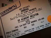2 tickets to Garbage, O2 Academy Brixton 14th September