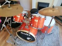 MAPEX M BIRCH 5 PIECE DRUM Kit, with all Hardware, Stool and Cymbals.