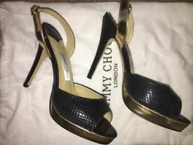 JIMMY CHOO, BLACK & GOLD, SIZE 5 *BRAND NEW*