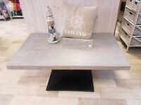 Shabby Chic Grey Coffee Table with Black Metal Base