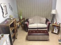 Lovely leather and fabric mix bespoke 2str sofa with bench