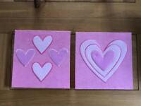 Two Pink Material Canvas Heart Pictures