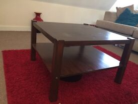 Ikea solid wood square coffee table dark brown