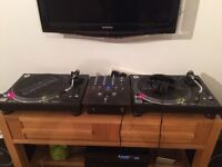 Technics 1210 mk5s with needles, mixer and headphones
