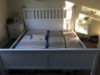 Super king size bed frame and slats and bedside tables