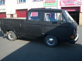 vw t25 doka double cab pick-up rhd mot'd petrol/lpg converted may part ex for vw campervan
