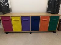 Multicoloured childs bedroom toy storage unit
