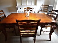 Lovely Expandable Wood Table & 4 Rush Seat Chairs