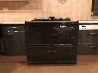 AGA cooker 2 oven mains gas in dark grey/black in pristine condition with accessories