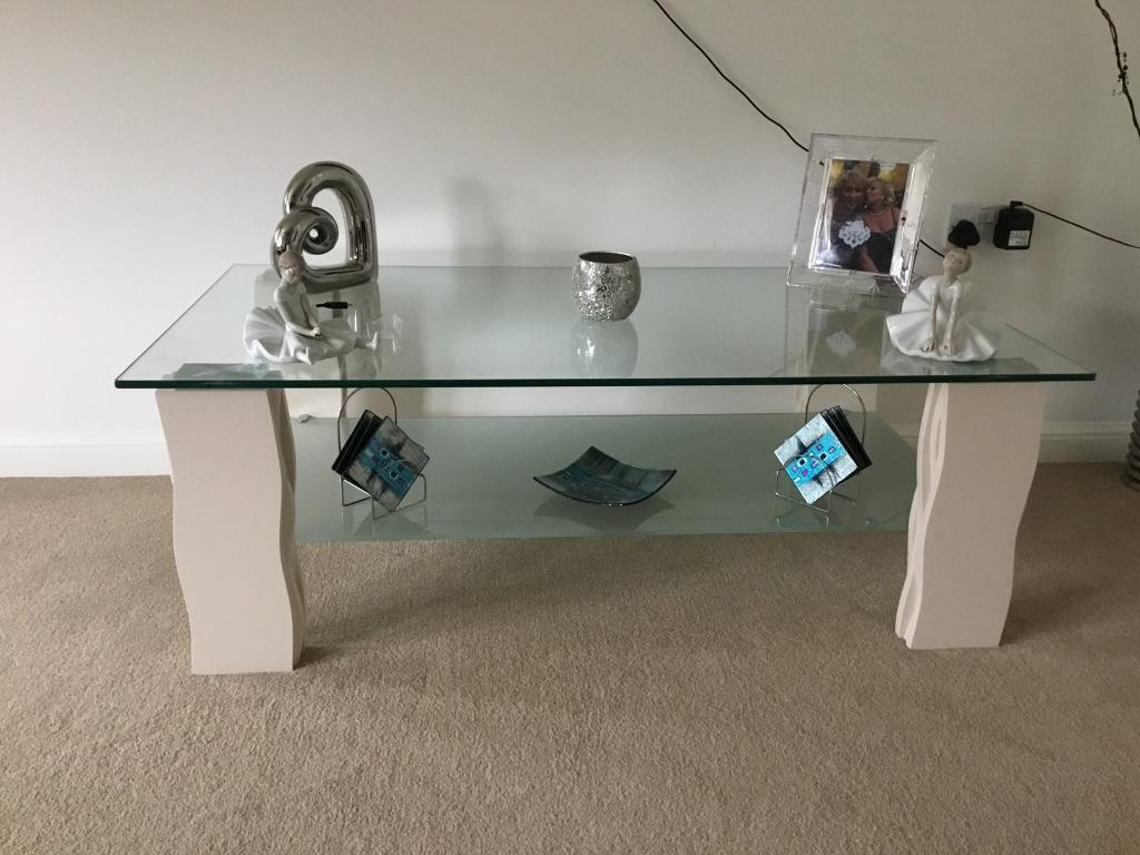 Glass coffee table & smaller matching table