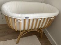 Wooden crib with mattress and lining