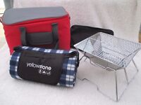 Folding Compact BBQ, Luxury Picnic Blanket & 30L Cooler Bag - All New and unused