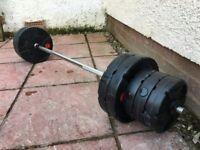 Barbell kit set 40kg vinyl weights