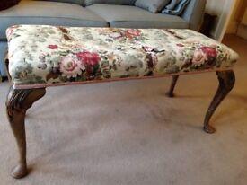 Duet stool, antique/vintage Queen Anne style, 110 x 45 x 53cm,