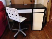 Ikea Micke desk white & black / dark brown and childs Jules white office chair
