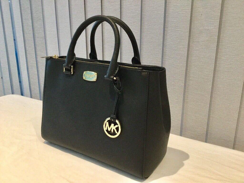 ... best price elegant classic genuine michael kors black leather tote bag  ea505 7e251 cb16c4e0459ac
