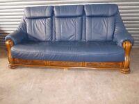 Blue Leather 3-1-1 Oak Frame Suite