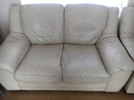Cream leather sofa set 2-1 and stool