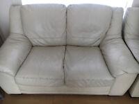 Cream leather sofa set 3-2-1 and stool