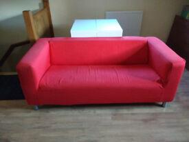 Ikea Klippan Three Seater Sofa, Red
