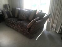 Immaculate grey and silver 3 & 4 seater sofa with ottoman