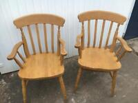 2x solid wood chairs