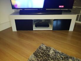 Gloss white and black led tv stand
