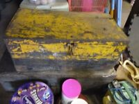Vintage Wooden Tool Box with Metal Handles and Straps (contents not included)