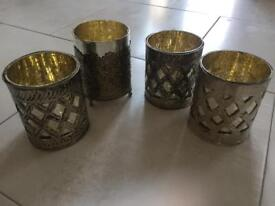 4 x Rustic Candle Holders