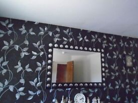 Large Black and Silver Mirror