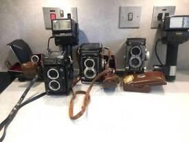 2 rolleiflex vintage cameras plus accessories