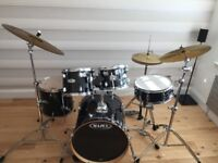 Mapex 5 piece drum kit, stool and cymbals