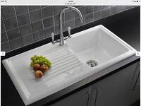 Reginox 1.0 Bowl Left hand bowl White Ceramic Kitchen Sink, Waste & Reginox ELBE Tap RL304CW