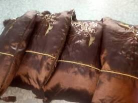 Silk brown cushions